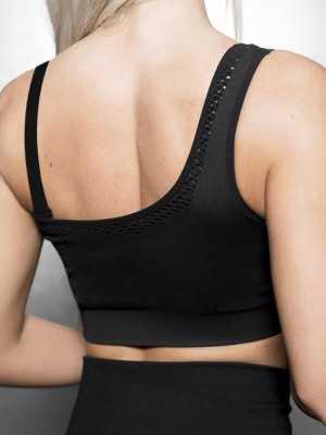 Stretch Black Workout Bra Detachable Straps Seamless For Women
