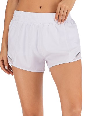 Kinetic White Elastic Waist Solid Color Sports Short Workout Apparel