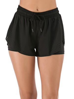 Stretchable Black Sports Shorts With Lining Eyelet Design Wholesale Online