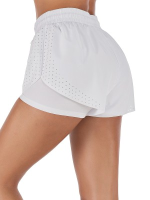 Vogue White Running Shorts Solid Color Drawstring High Elastic