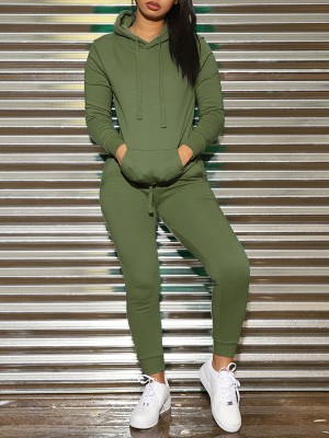 Gymnastic Army Green Solid Color Hooded Collar Sweat Suit Leisure Time