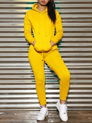 Shaping Yellow Drawstring Hooded Sweat Suit Full Sleeve Elasticity
