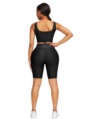 Well-Suited Black Jacquard High Waist Crop Sports Suit For Female Runner