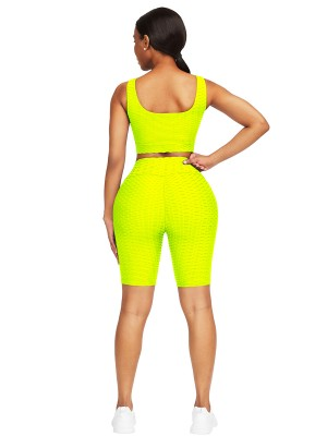 Awesome Yellow Scoop Neck Training Suits High Waist Sport Series
