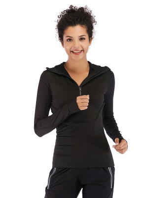 Stylish Black Long Sleeve Top Hooded Collar Pocket Exercise
