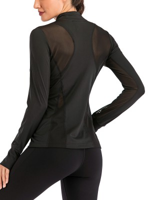 Flattering Black Thumbhole Stand-Up Collar Sports Top Leisure Wear
