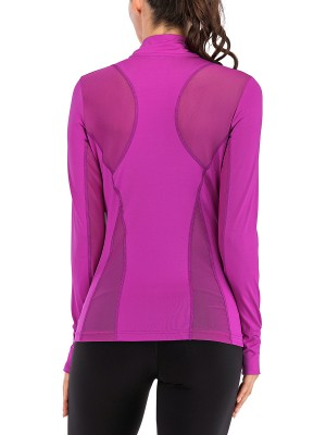 Sassy Purple Side Pockets Sheer Mesh Sports Top Workout Clothes