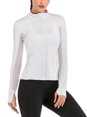 Elastic White Sheer Mesh Athletic Top Full Sleeve For Runner