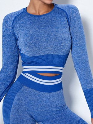 Dynamic Blue Athletic Top Crew Neck Long Sleeve Women Fashion Style