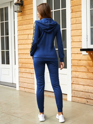 Sexy Ladies Blue Sports Suit Sequin Splicing Hooded Elasticity