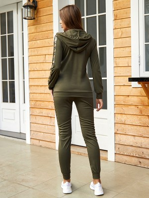 Classic Army Green Sequin Patchwork Sweat Suit Zipper