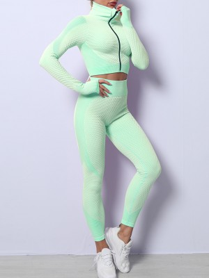 Grass Green Long Sleeves Zipper Sports Two-Piece Outfits Quick Drying