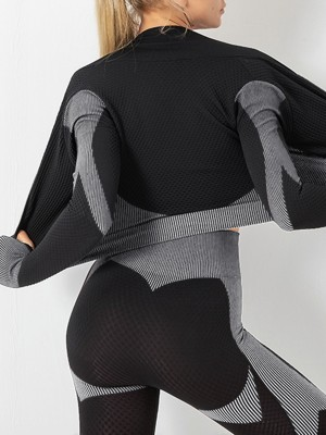 Refreshing Gray Colorblock Zipper Yoga Suit Cropped Tight