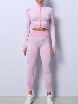 Light Pink High Waist Yoga Suit Colorblock With Thumbhole Stretched