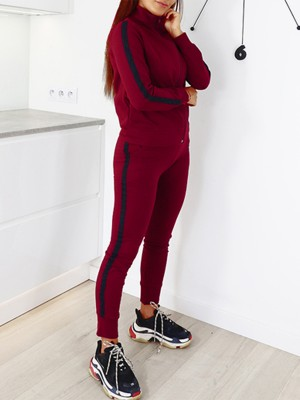 Super Sexy Red Zip Full-Length Sweat Suit Patchwork Elegance