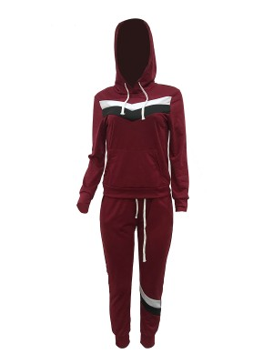 Tight Wine Red Drawstring Sports Suit With Pockets Stretchy Fabric