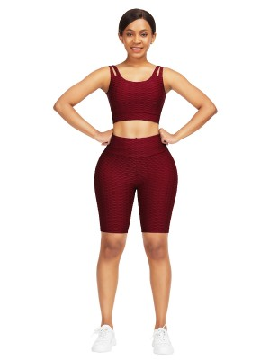 Splicing Wine Red Scoop Neck Crop Jacquard Sports Suit Slimming Fit