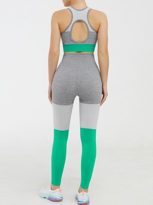 Online Green Contrast Color Sports Suit Seamless Slim