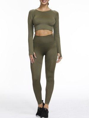 Sleek Army Green Hollow Seamless Yoga Suit Round Neck