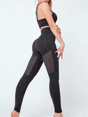 Smooth Black Seamless Yoga Sets Hollow Out Ladies Sportswear