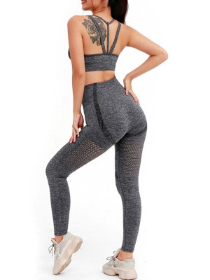 Sophisticated Dark Gray Wide Strap Top High Rise Leggings Comfort