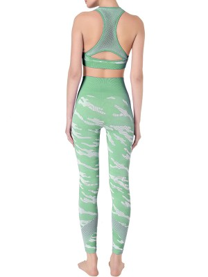Light Green Sweat Suit Removable Cups Wide Waistband Women Outfit