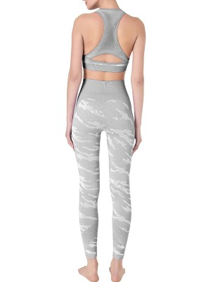 Must-Have Light Gray Patchwork Athletic Suit Ankle Length Slim