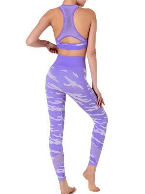 Sensational Purple Camouflage Print Sweat Suit Sleeveless For Running