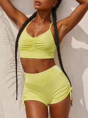 Captivating Yellow Solid Color Sweatsuit Pleated High Wasit For Runner