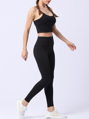Snappy Black Yoga Suit Solid Color High Waist For Workout