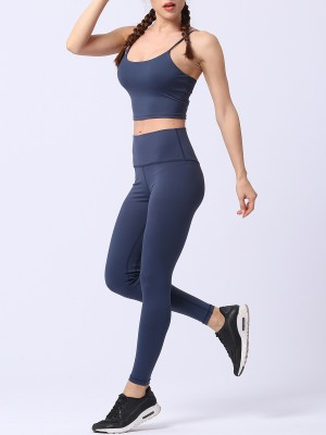 Unique Dark Blue Open Back Bra Wide Waistband Leggings Outdoor