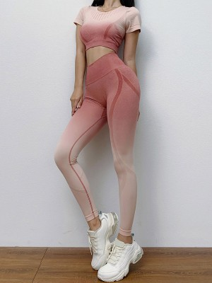 Shimmer Pink Seamless Yoga Suit Gradient High Rise For Lounging