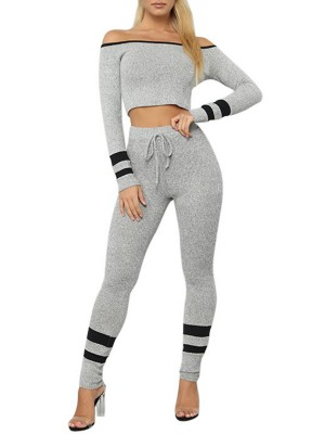 Delicate Gray Off-Shoulder Long Sleeves Sports Suit Outdoor