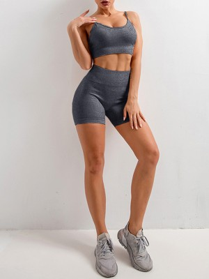 Gray Adjustable Strap Crop Yoga Shorts Suit Training Apparel