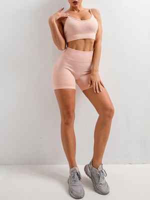 Chic Pink Sling Yoga Top Mid Thigh Shorts Suit Aerobic Activities