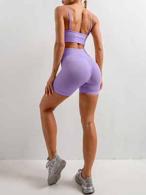 Modern Purple Spaghetti Strap Crop Top Sport Shorts Exercise