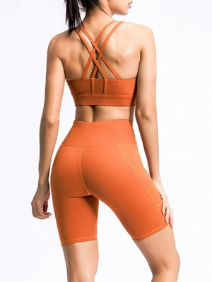 Flawlessly Orange U-Neck Sports Suit Thigh Length Running Apparel