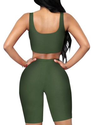 Wonderful Army Green Crop Sleeveless Yoga Suit Scoop Neck Female
