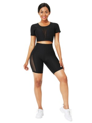 Well-Suited Black Crew Neck Sheer Mesh Running Suit Moisture Management