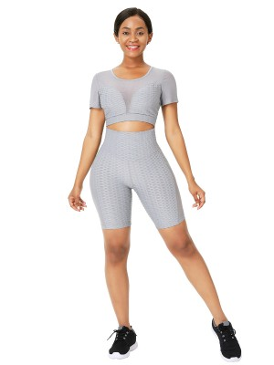 High Elastic Gray Sports Suit Short Sleeve High Rise Fashion Forward