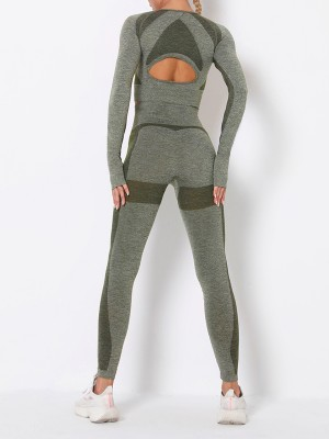 Army Green Raglan Sleeve Sweat Suit Seamless Cut Out Stretchy Fabric