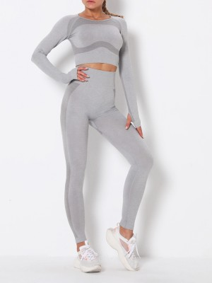 Smoothing Light Gray Round Collar High Rise Athletic Suit Soft-Touch