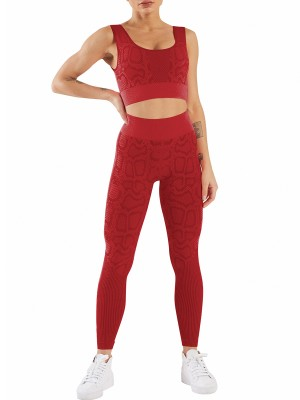Red Seamless Yoga Bra And Snakeskin Leggings Suit Good Elasticity