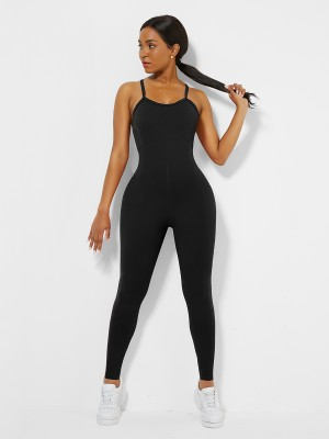 Black Strappy Back Removable Pads Yoga Bodysuit For Women
