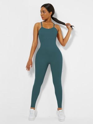 Blue Cross Back Pleated Sling Athletic Jumpsuit Moisture Wicking