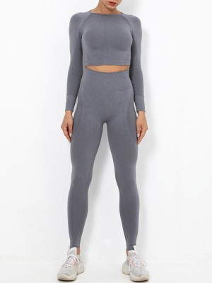 Gray Sports Suit Solid Color Wide Understated Design