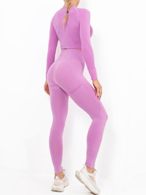 Rose Red Solid Color High Rise Athletic Suit Versatile Item