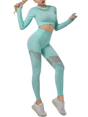 Green Seamless Hollow Out Yoga Suit Thumbhole Wholesale