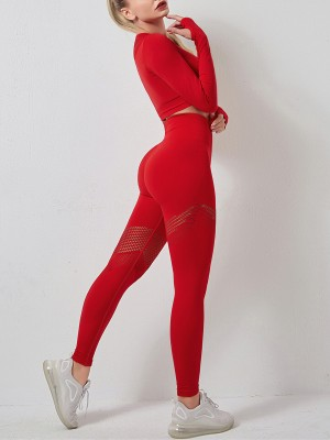 Red Knit Seamless Yogawear Suit Hollow Out Weekend Time