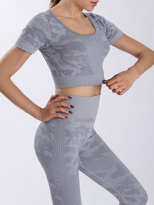 Gray Seamless Backless Short Sleeve Yoga Suit Slimming Fit